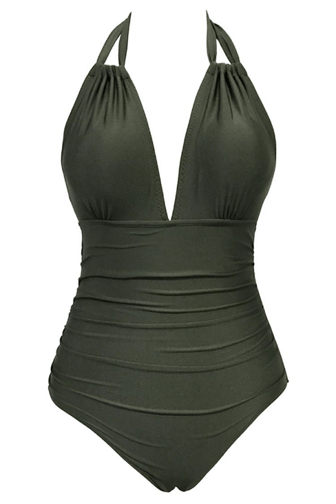 Green halter style one piece swimsuit