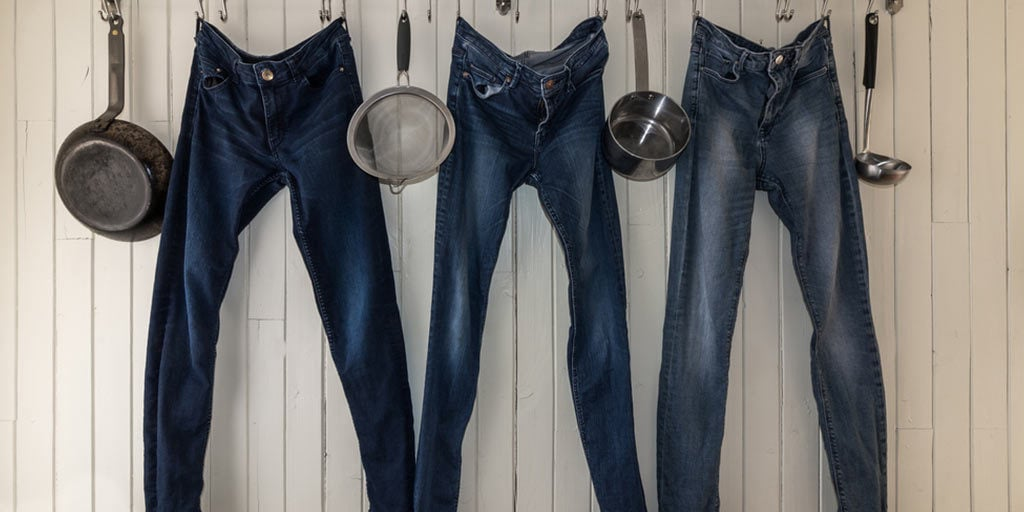 Jeans hanging to dry