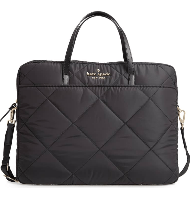 Quilted nylon laptop bag