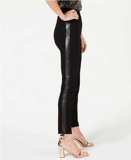 Skinny pants with leather strip on side seam