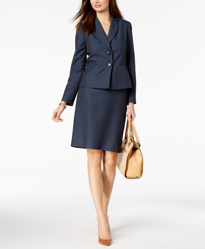 Navy pin-striped suit for women