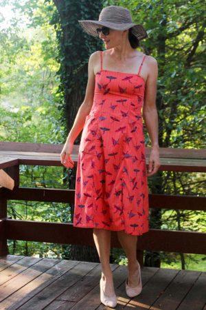 Colorful orange midi dress from Le Tote