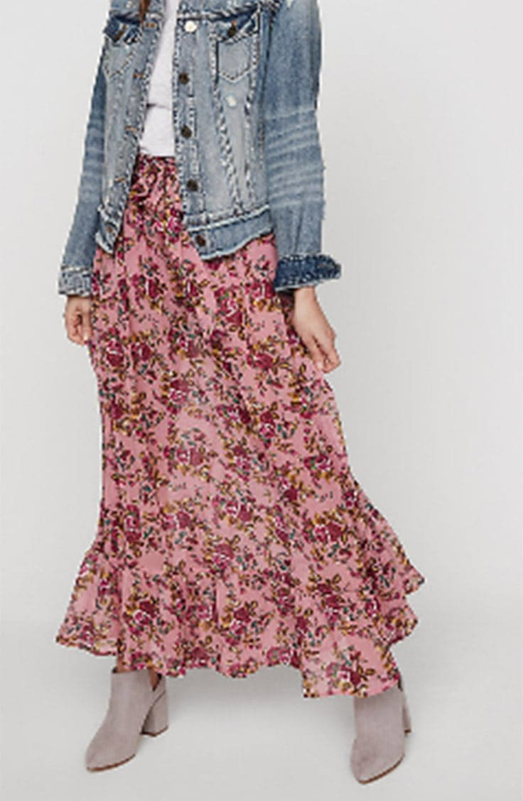 Pink floral maxi skirt from Express
