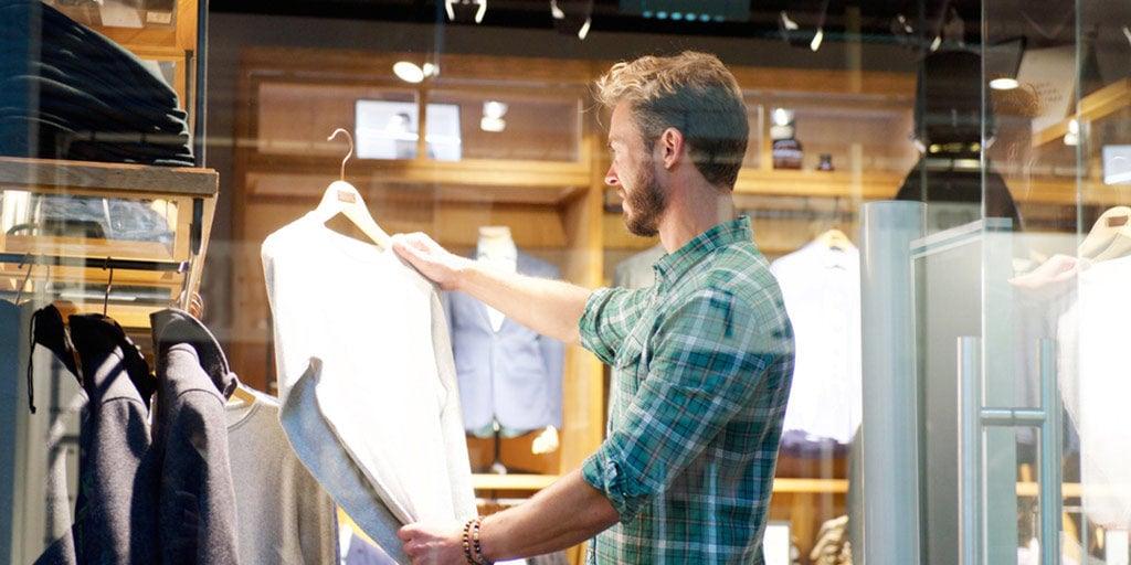 Man shopping for a shirt