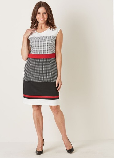 Millers gray, red, white and black sheath dress