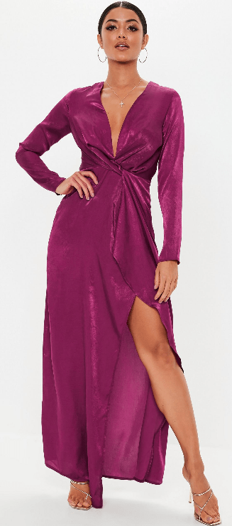 Long raspberry colored wrap dress