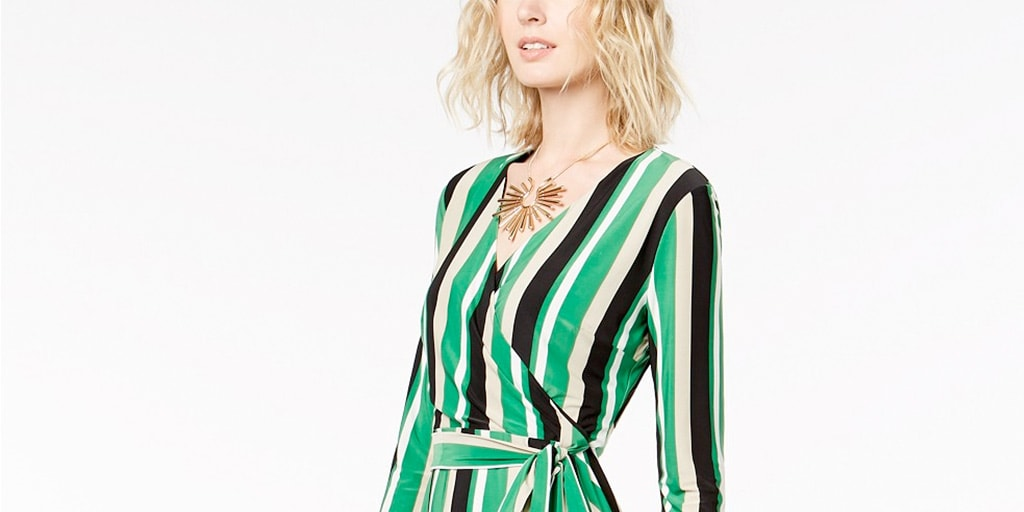 Woman wearing striped wrap dress