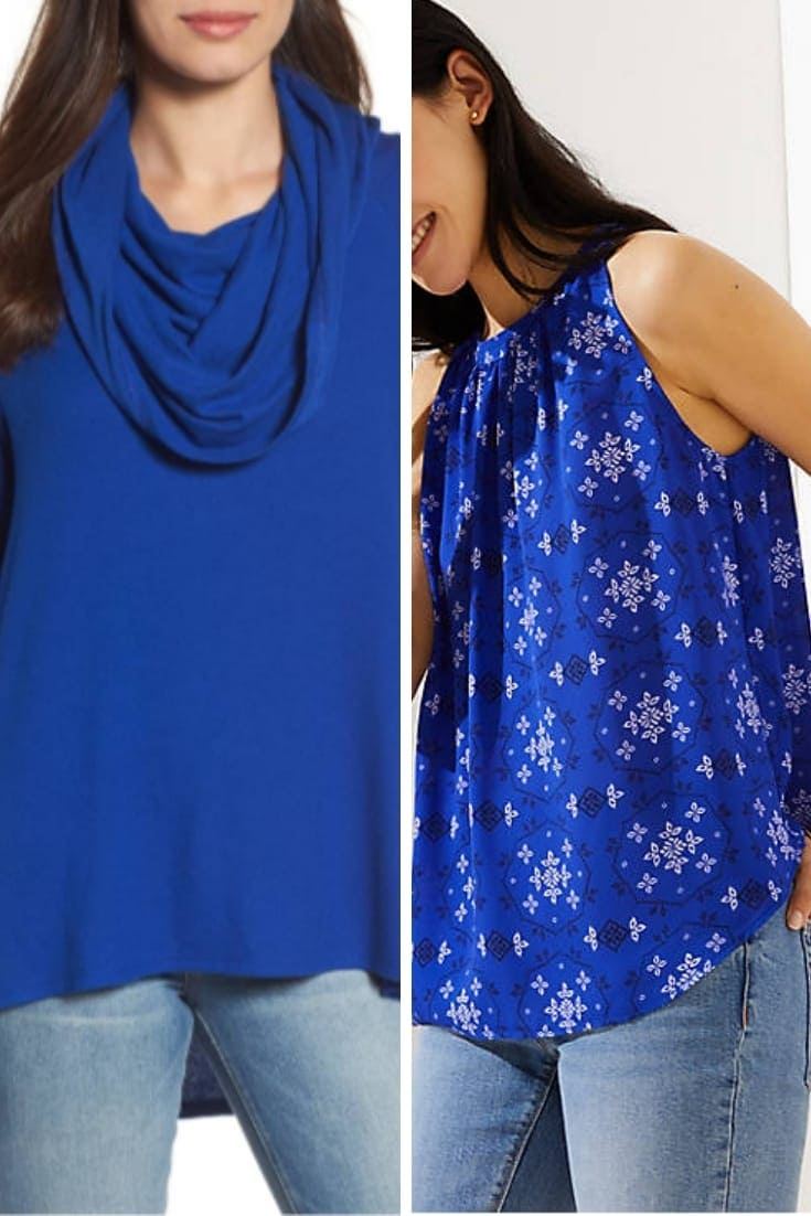 Turtleck and loose tank in pantone's trending blue