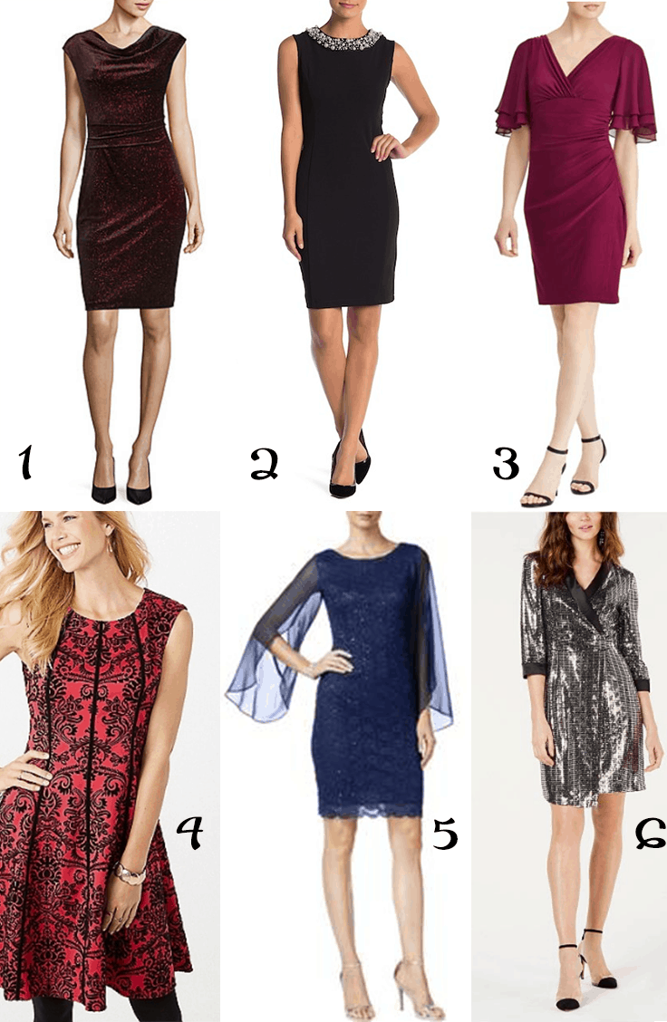 Collage of six budget party dresses