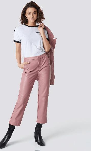 Pink PU pants