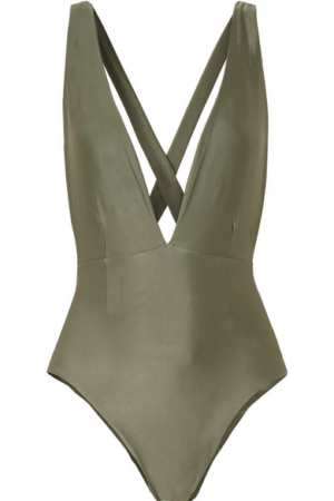 Green one piece swimsuit with plunging neckline