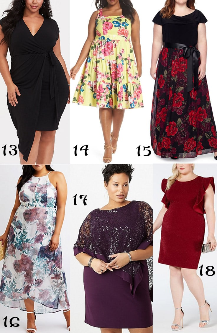Collage of six plus sized party dresses
