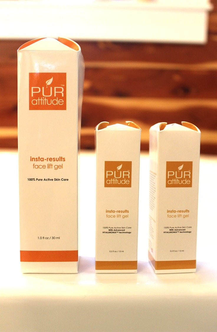 3 packages of Purattitude Insta-results face lift gel