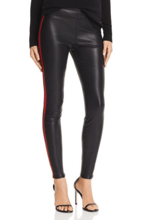 Faux leather pants with red stripe