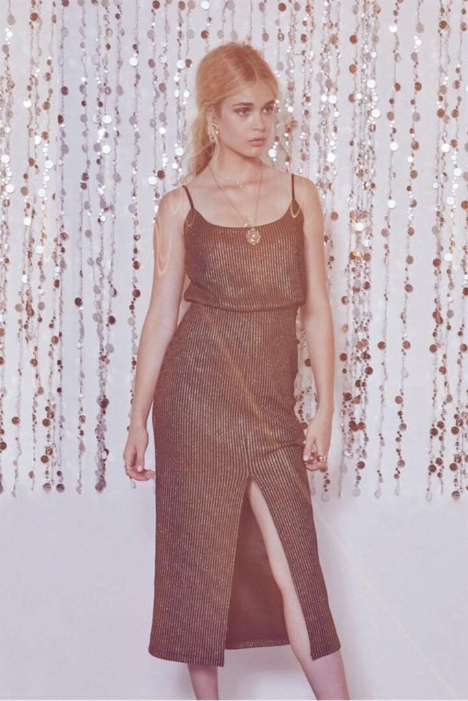 Ribbed, sequined dress