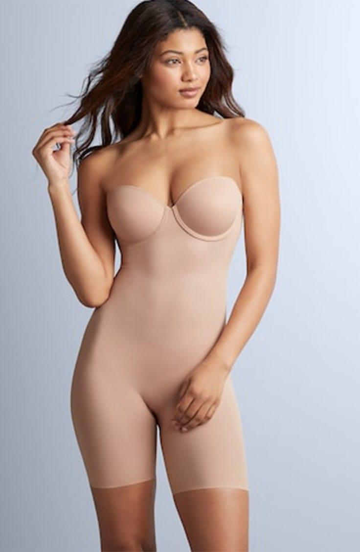Woman wearing body shaper bodysuit