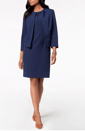 Blue sheath dress and coordinating blazer
