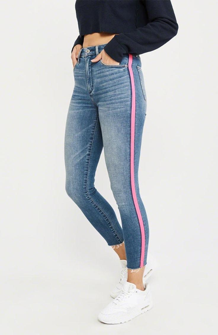 Denim jeans with pink side stripe