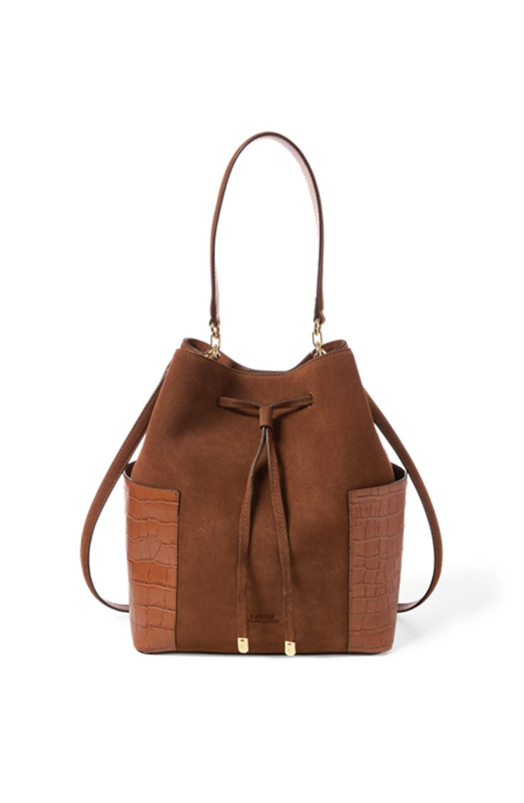 Brown suede bag by Lauren Ralph Lauren