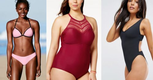 Collage of three women with different skin tones wearing bathing suits