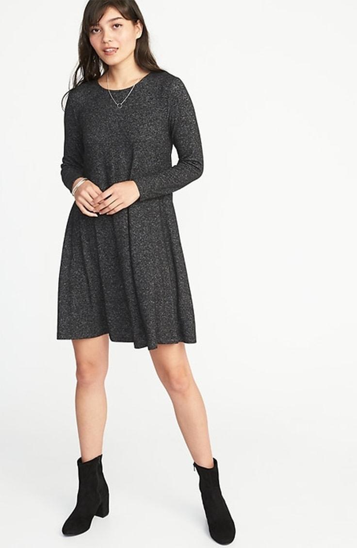 Gray jersey swing dress