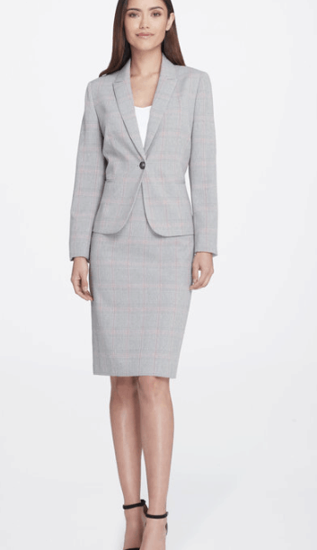 Plaid, two-piece skirt suit