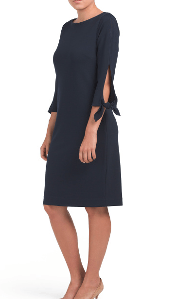 Navy dress with tie sleeves