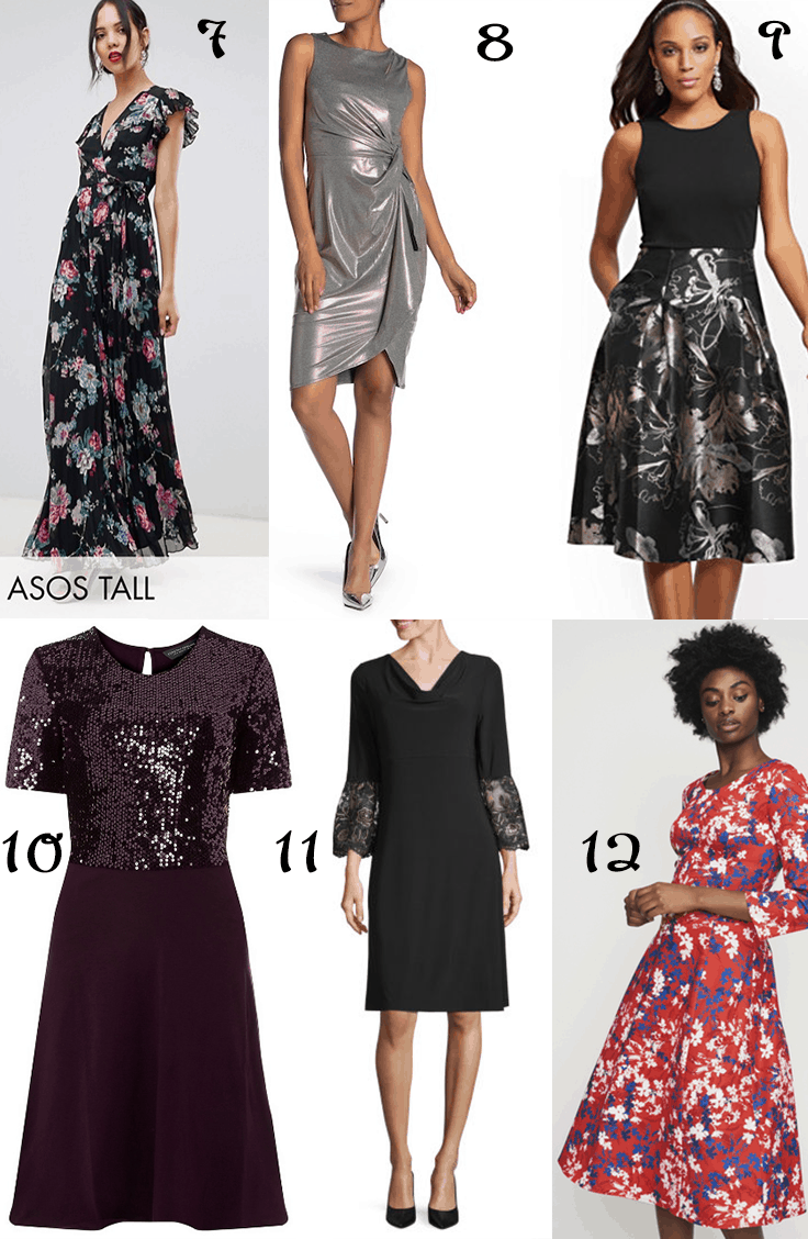 Collage of six dresses sized for tall women.