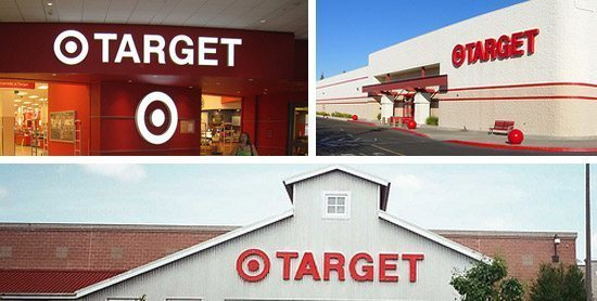 Collage of Target stores' exteriors