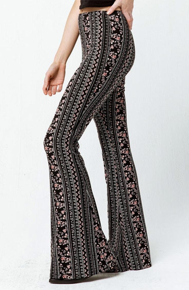 Floral, patterned flared pants