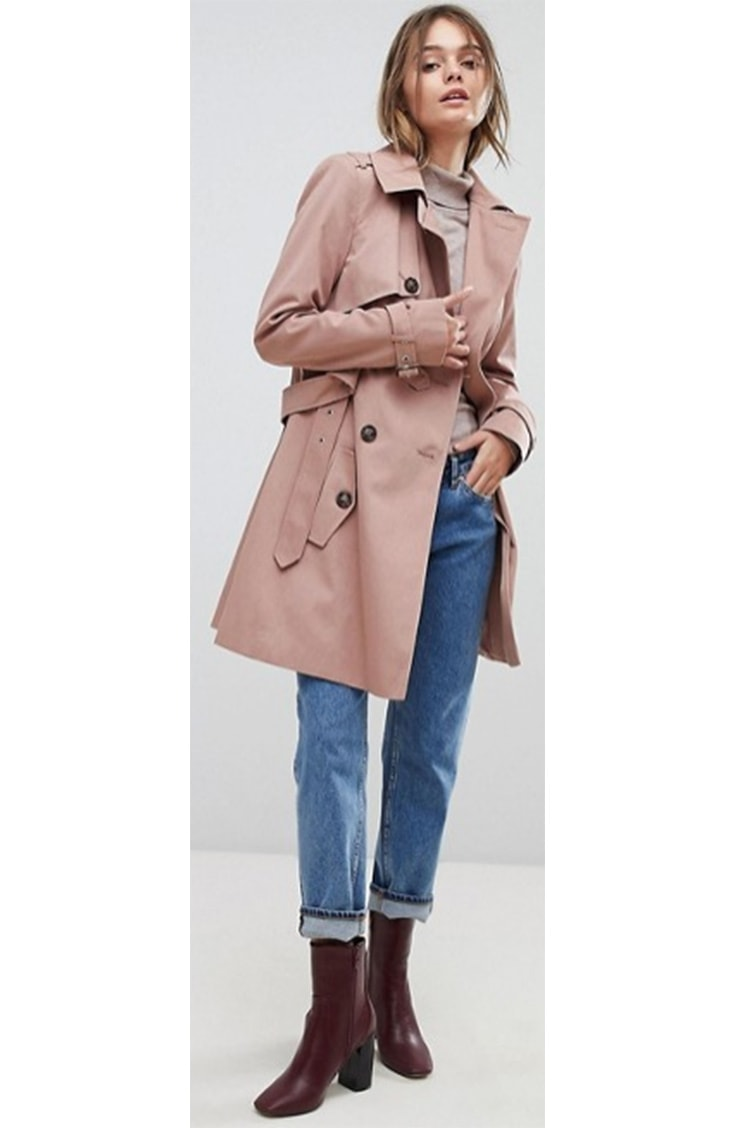 Soft pink trench coat from ASOS