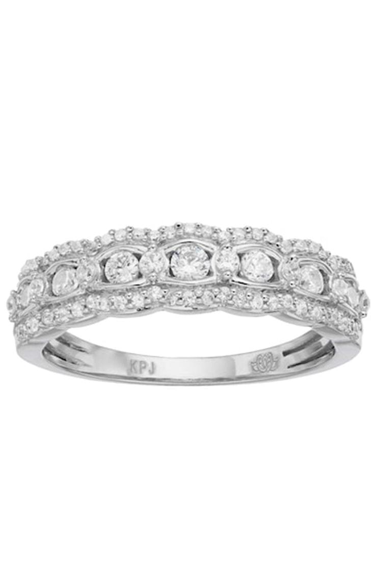 Scalloped diamond wedding band by Simply Vera Vera Wang