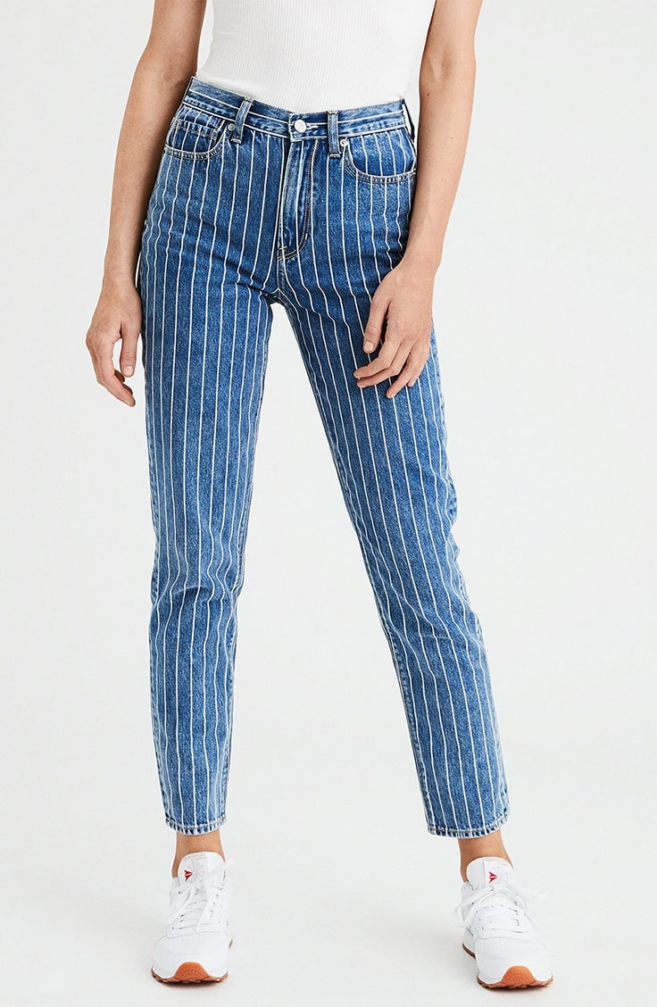 Jean with vertical stripe design