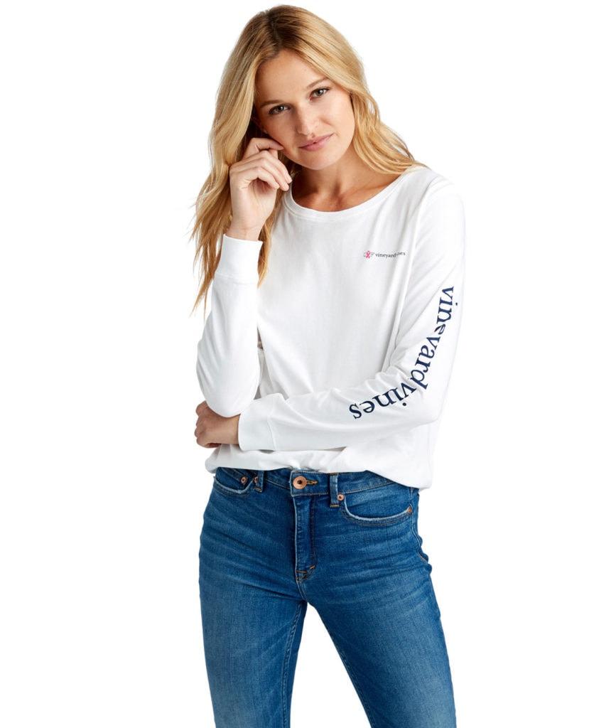 White long-sleeved t-shirt by Vineyard Vines