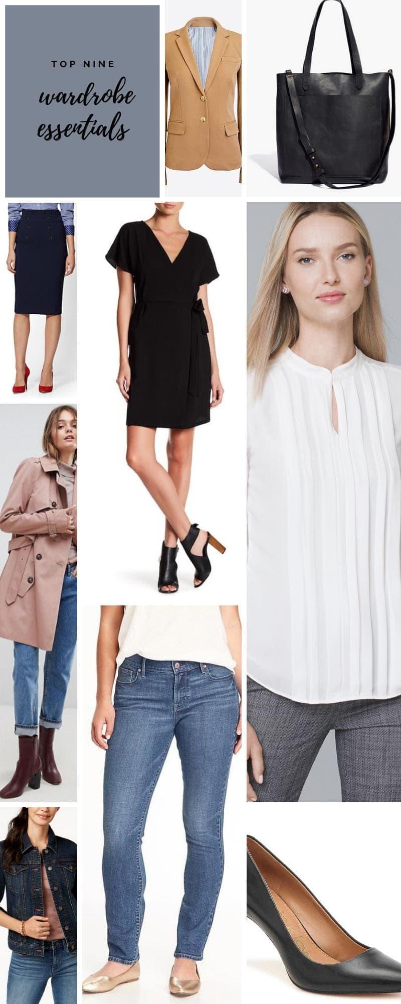 Collage of top nine wardrobe essentials