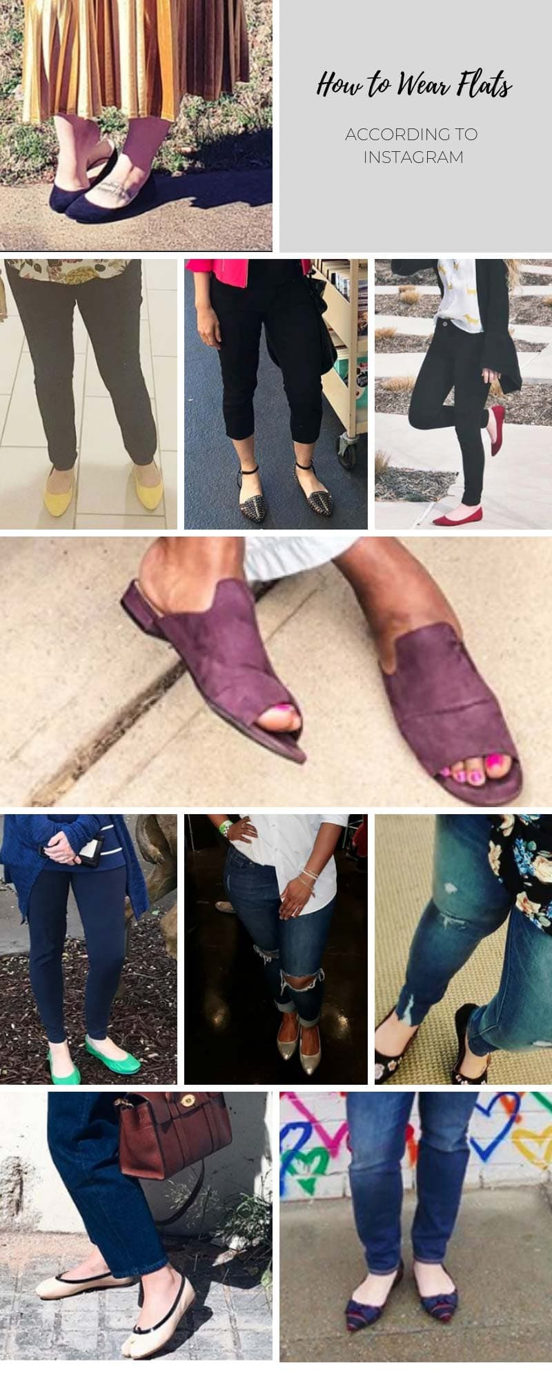 Infographic showing 10 ways to wear flats