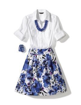 White top and blue floral skirt