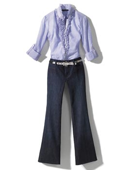 Ruffle blouse and jeans