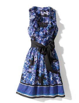 Blue and black floral dress