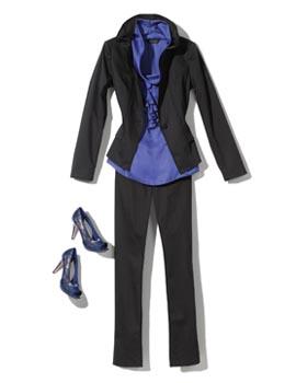 Black casual women's suit and blue blouse