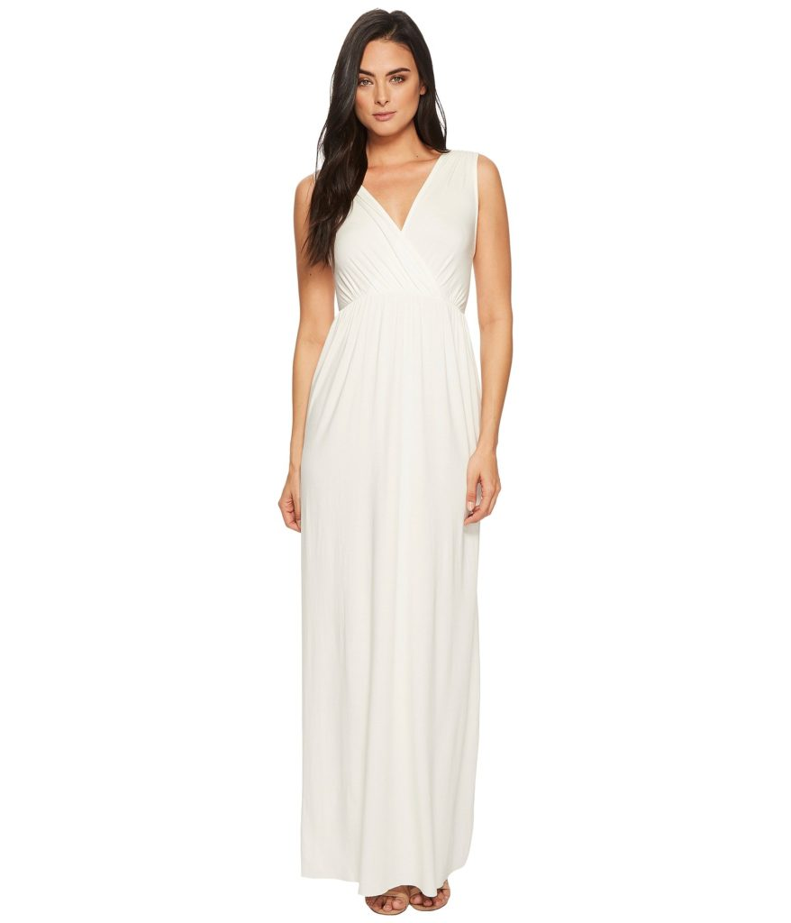Long white v-neck gown