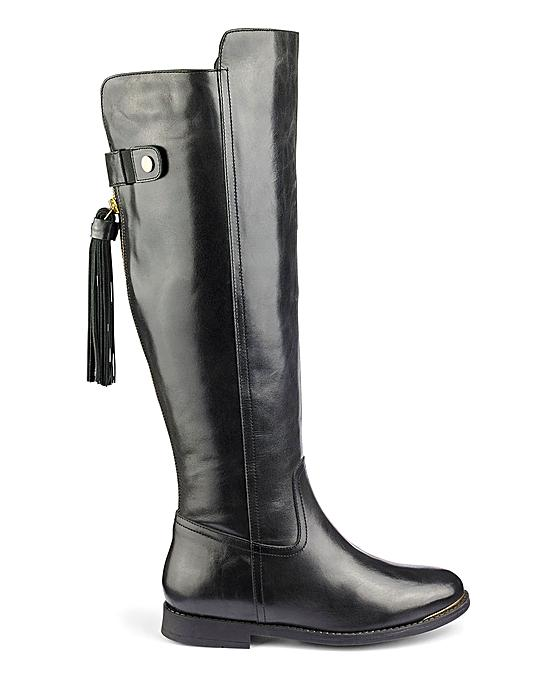 Black leather wide-calf boots