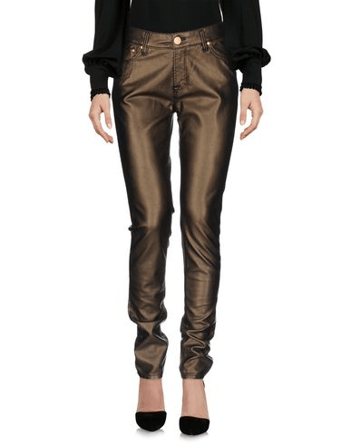 Faux leather pants in bronze finish