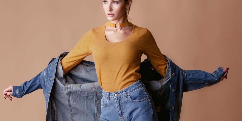 Woman wearing oversized denim
