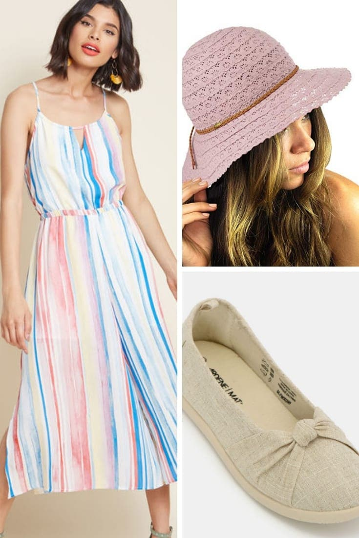 Outfit of floppy hat, shoes and jumpsuit dress