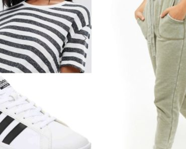 Sporty outfit collage with joggers and sneakers