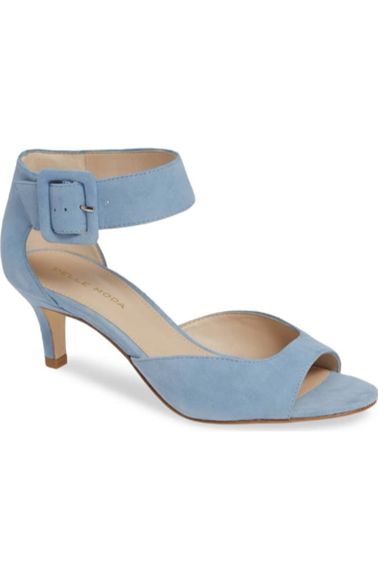 Light blue kitten heel with ankle strap