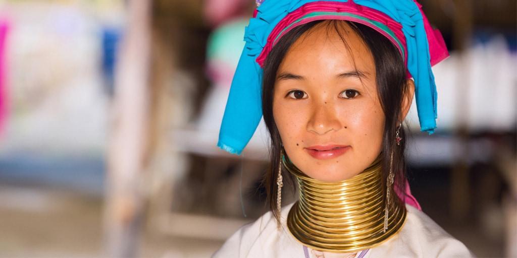 Woman of the Thai Kayan tribe wearing brass rings