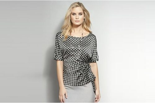 patterned wrap blouse