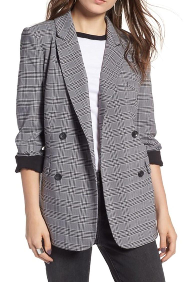 Oversized blazer in plaid